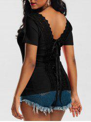 Laced Lace-up Top - BLACK