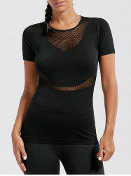 Mesh Panel Breathable Fitness Running T-shirt - BLACK