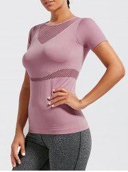 Mesh Panel Breathable Fitness Running T-shirt - DEEP PINK