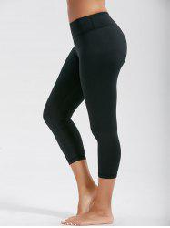 High Rise Capri Workout Leggings with Pockets - BLACK