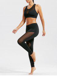 Sheer  Sports Bra and Mash Panel Workout Leggings Set