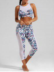Sheer Mesh Padded Sports Bra and  Capri Printed Leggings - WHITE