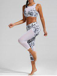 Padded Sports  Bra and Mesh Panel Sheer Yoga Leggings - BLACK WHITE