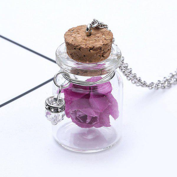 Glow in the dark Glass Dry Floral NecklaceJEWELRY<br><br>Color: PURPLE; Item Type: Pendant Necklace; Gender: For Women; Style: Trendy; Shape/Pattern: Floral; Length: 56CM; Weight: 0.0300kg; Package Contents: 1 x Necklace;