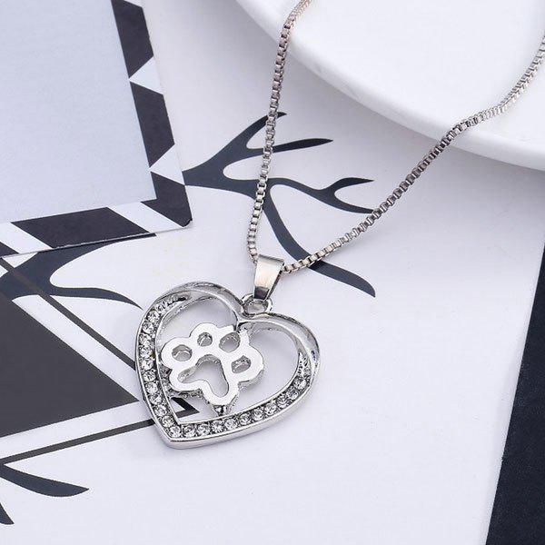 Dog Paw Heart Hollow Out Pendant NecklaceJEWELRY<br><br>Color: SILVER; Item Type: Pendant Necklace; Gender: For Women; Necklace Type: Link Chain; Metal Type: Alloy; Style: Trendy; Shape/Pattern: Heart; Length: 50CM; Weight: 0.0300kg; Package Contents: 1 x Necklace;