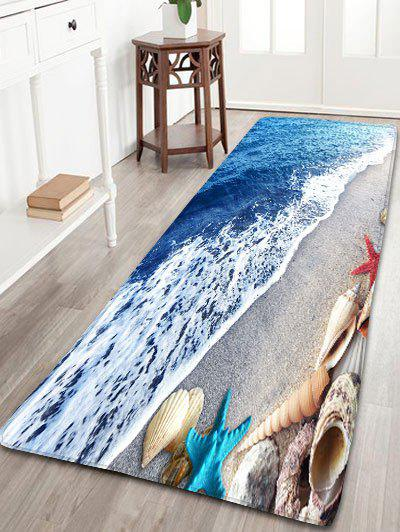 Bathroom Beach Starfish Printed Skidproof Flannel RugHOME<br><br>Size: W16 INCH * L47 INCH; Color: BLUE; Products Type: Bath rugs; Materials: Flannel; Pattern: Scenic; Style: Beach Style; Shape: Rectangle; Package Contents: 1 x Rug;