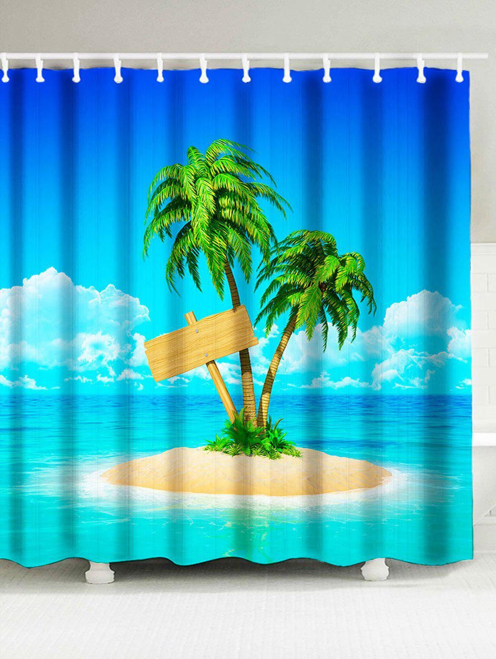 Fancy Coconut Palm On Island Beach Theme Fabric Shower Curtain