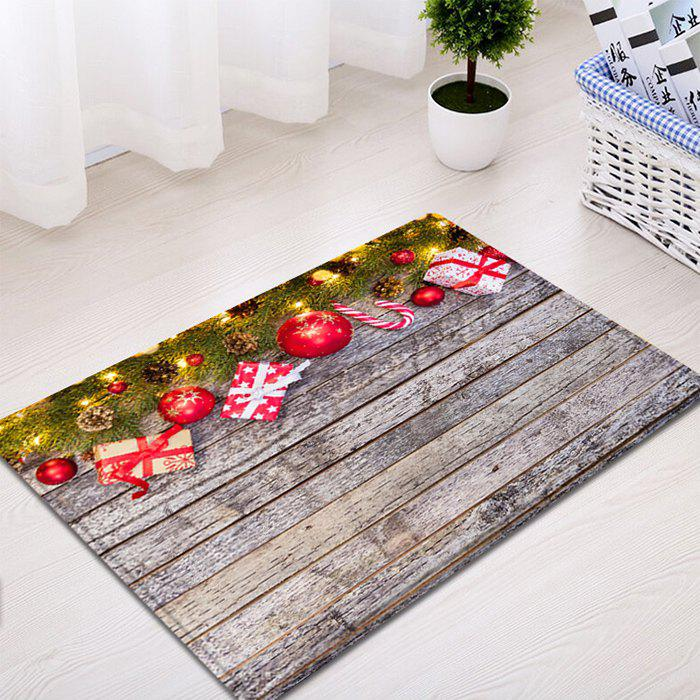 Wood Christmas Gift Pattern Anti-skid Water Absorption Area RugHOME<br><br>Size: W20 INCH * L31.5 INCH; Color: COLORMIX; Products Type: Bath rugs; Materials: Flannel,Plastic,Sponge; Style: Fashion; Shape: Rectangle; Package Contents: 1 x Rug;
