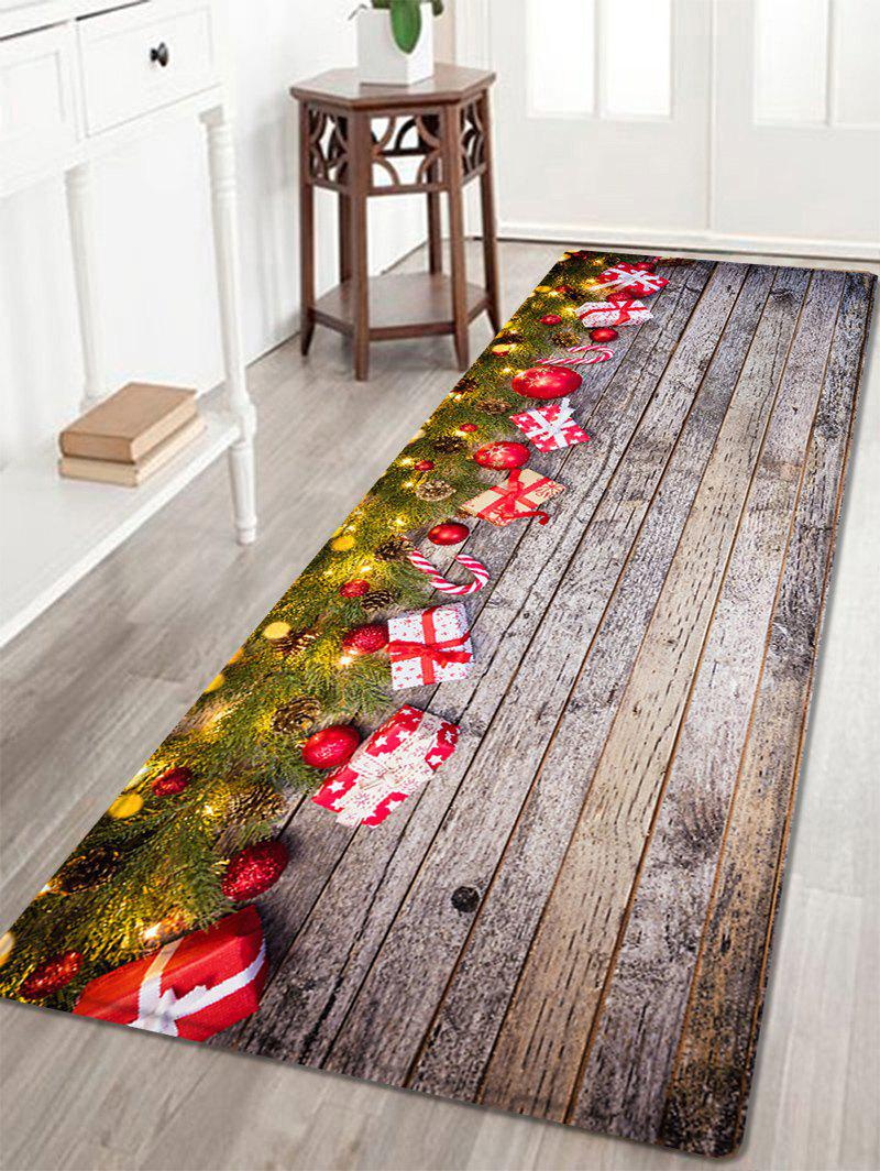 Wood Christmas Gift Pattern Anti-skid Water Absorption Area RugHOME<br><br>Size: W24 INCH * L71 INCH; Color: COLORMIX; Products Type: Bath rugs; Materials: Flannel,Plastic,Sponge; Style: Fashion; Shape: Rectangle; Package Contents: 1 x Rug;