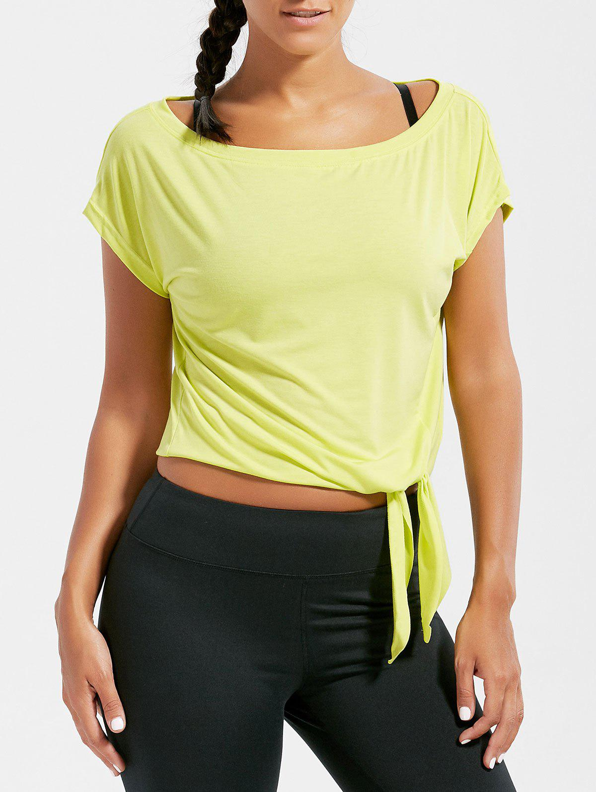 Shops Active  Front Tie Cropped T-shirt
