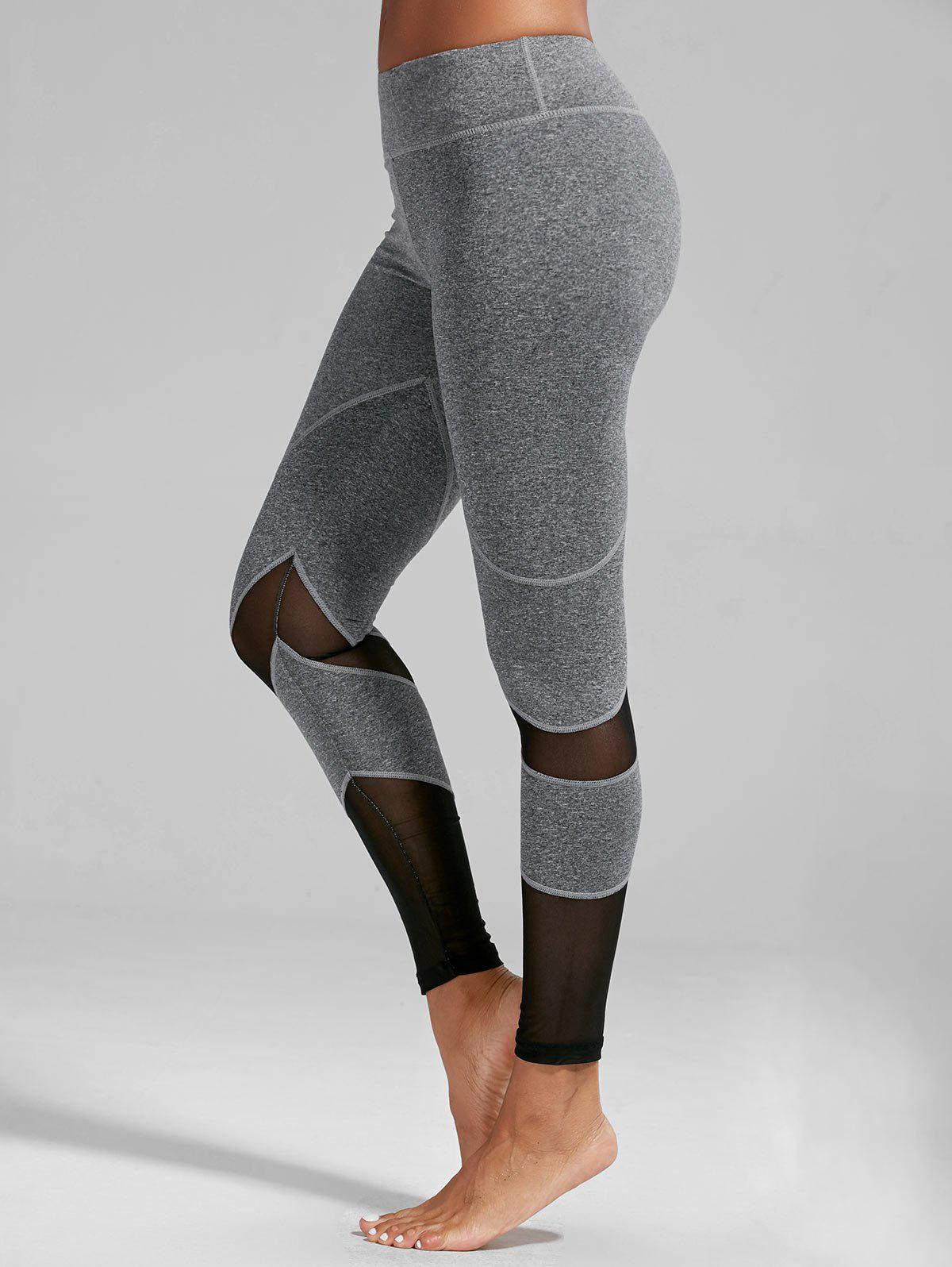 Fashion High Rise Mesh Panel Fitness Leggings