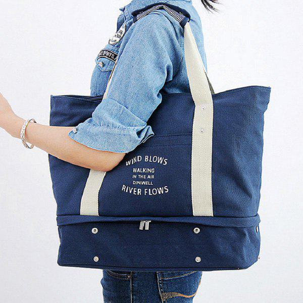 Canvas Graphic Printed Storage Tote BagSHOES &amp; BAGS<br><br>Color: BLUE; Handbag Type: Totes; Style: Casual; Gender: For Women; Pattern Type: Letter; Handbag Size: Large(&gt;50cm); Closure Type: Zipper; Interior: Interior Zipper Pocket; Occasion: Versatile; Main Material: Canvas; Weight: 1.5000kg; Size(CM)(L*W*H): 54.5*16*37; Package Contents: 1 x Tote Bag;