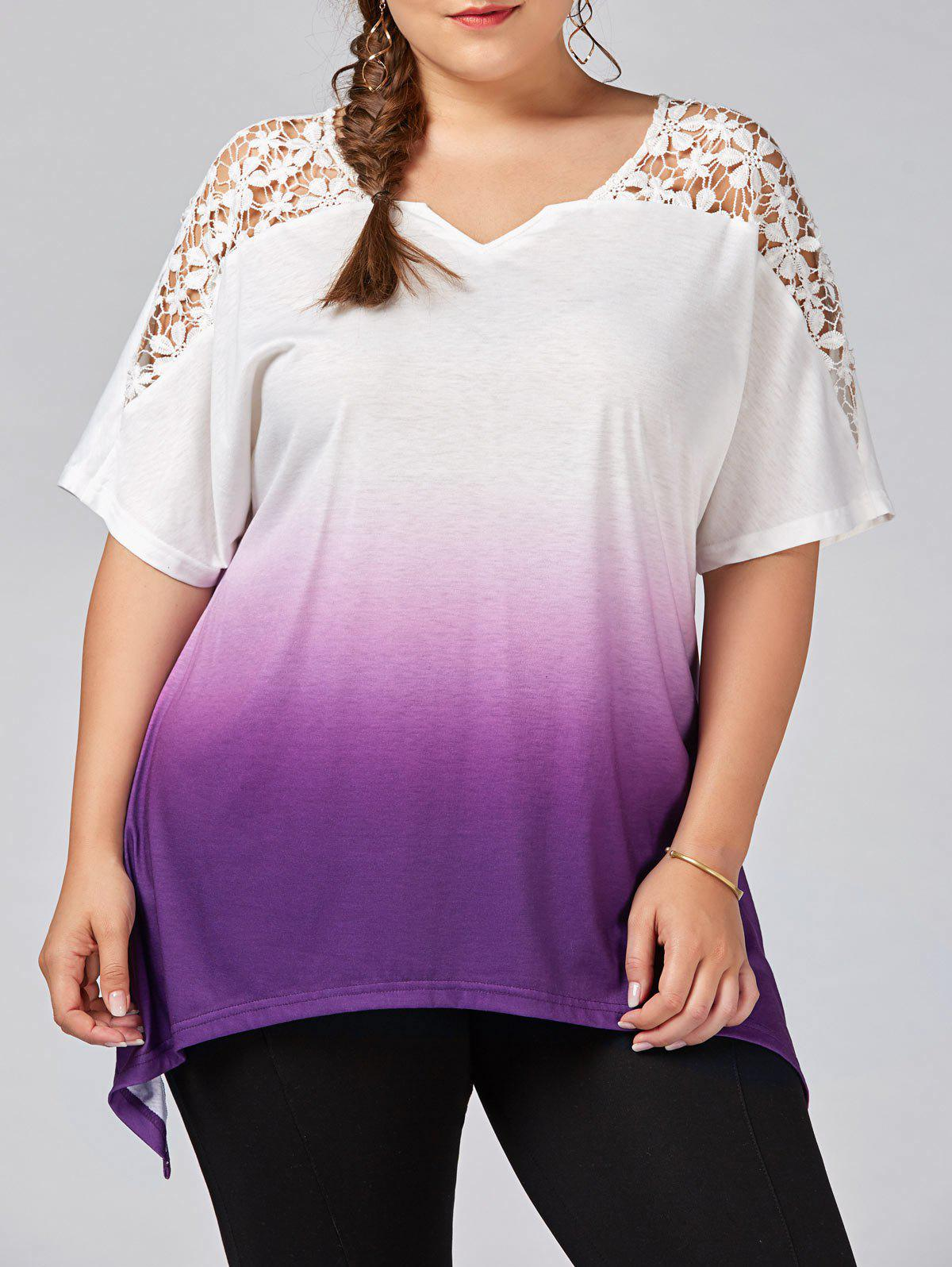 Latest Plus Size Cutwork Ombre Top
