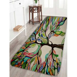Colorful Tree Print Coral Fleece Skidproof Bath Rug