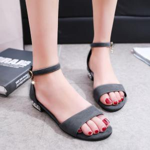 Flat Heel Ankle Strap Sandals - Gray - 38