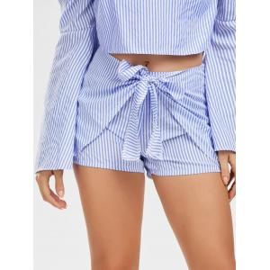 Bell Sleeve Off The Shoulder Top and Striped Shorts - STRIPE M