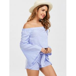 Bell Sleeve Off The Shoulder Top and Striped Shorts -