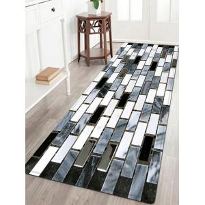 Ceramic Tile Pattern Anti-skid Water Absorption Area Rug - Black White - W24 Inch * L71 Inch