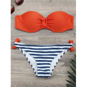 Striped Underwire Twist Bikini Set