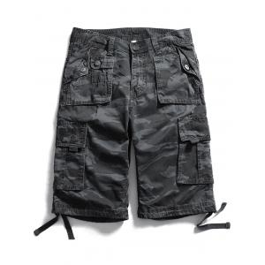 Multi Pockets Zip Fly Camo Cargo Shorts - Charcoal Gray - 32