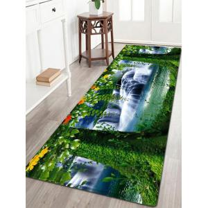 Tree Scenery Pattern Flannel Water Absorption Area Rug - Green - W24 Inch * L71 Inch