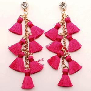 Rhinestone Statement Tassel Chain Earrings - Rose Red - One Size