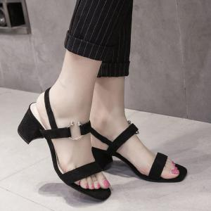 Block Heel Metal Ring Sandals - Black - 39