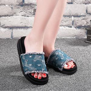 Denim Platform Slippers - Light Blue - 38