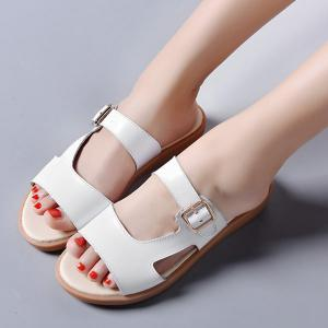 Flat Heel Belt Buckle Slippers -