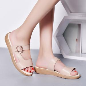 Flat Heel Belt Buckle Slippers - Light Camel - 38