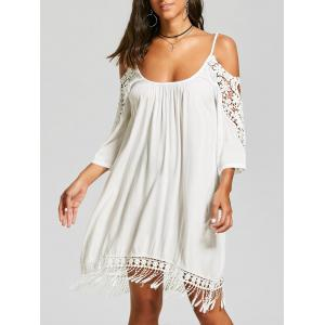 Lace Trim Cold Shoulder Mini Shift Dress