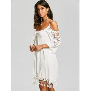 Lace Trim Fringe Cold Shoulder Mini Dress - WHITE 2XL