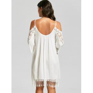 Lace Trim Cold Shoulder Mini Shift Dress - WHITE 2XL