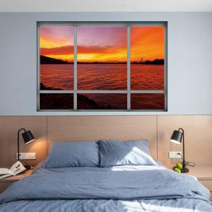 Removable 3D Window Sea Sunset Wall Art Sticker