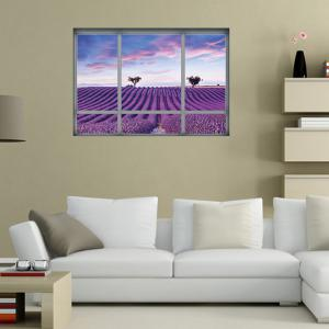 Window Lavender Scenic Wall Sticker For Living Room