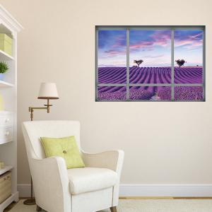 Window Lavender Scenic Wall Sticker For Living Room -