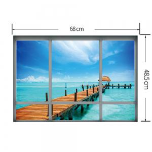 3D Window Island Landscape Removable Wall Sticker - BLUE 48.5*68CM