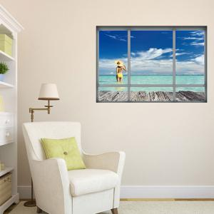 Beach Landscape Window Decorative Wall Sticker -