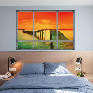 Home Decor Ocean Sunset 3D Autocollant mural en vinyle -