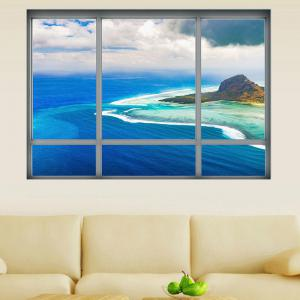 Window View Vinyl 3D Art Wall Sticker - BLUE 48.5*68CM
