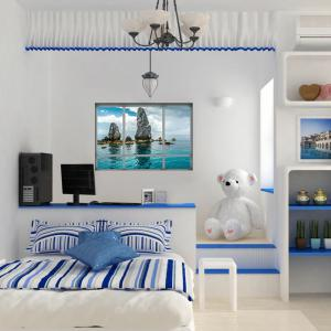 3D Window Scenery Home Decoration Wall Sticker - LAKE BLUE 48.5*68CM