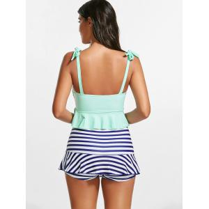 Striped Skirted Peplum Underwire Tankini Set -