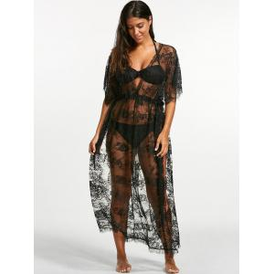 Sheer Lace Maxi Cover Up Dress for Beach - BLACK ONE SIZE