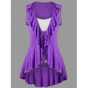Ruffle Trim High Low T-shirt with Camisole - Purple - 2xl