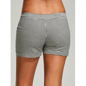 Drawstring Mini Plaid Shorts -