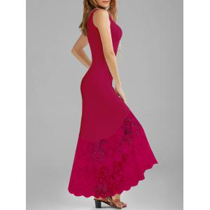 Scalloped Lace Panel Maxi Tank Dress - Cerise - 2xl