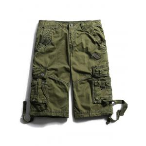 Straps Embellished Zip Fly Cargo Shorts - Army Green - 40