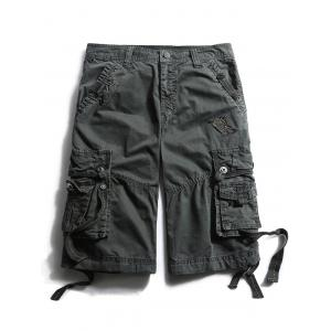 Straps Embellished Zip Fly Cargo Shorts - Deep Gray - 32