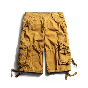 Straps Embellished Zip Fly Cargo Shorts - Earthy - 32
