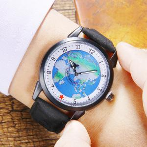 Faux Leather Strap World Map Number Watch - BLACK
